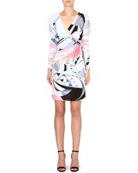 Emilio Pucci Ruched Printed Dress Pink - Lyst