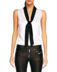 Michael Kors Tie-neck Georgette Blouse - Lyst