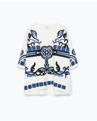 Zara Blue Embroidered Top - Lyst