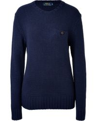 Polo Ralph Lauren Wool Pullover with Elbow Patches - Lyst