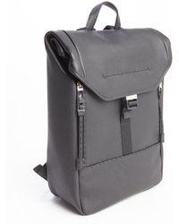 Fendi Black Leather Front Zip Pocket Top Flap Backpack - Lyst