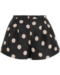 RED Valentino Polka-Dot Satin-Twill Shorts - Lyst