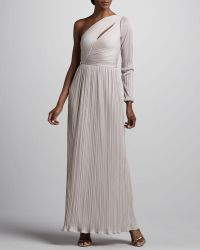 Halston Heritage Onesleeve Pleated Gown - Lyst