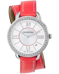 Swarovski Women'S Swiss Berry Leather Double Wrap Strap Watch 37Mm 5095942 red - Lyst