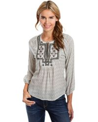 Lucky Brand Lilah Embroidered Mirror Top - Lyst