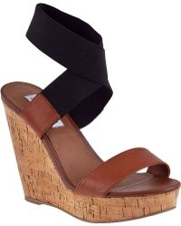 Steve Madden Roperr Wedge Sandal Black Fabric - Lyst