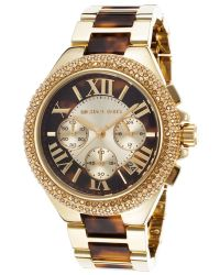 Michael Kors Womens Camille Gold-tone Steel and Tortoise Acetate Crystal Accents - Lyst