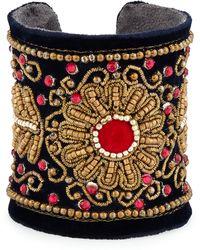 Chamak By Priya Kakkar   Velvet Floral Beaded Cuff Bracelet   Lyst