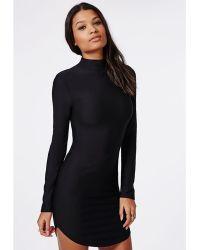 Missguided High Neck Long Sleeve Curve Hem Mini Dress Black - Lyst