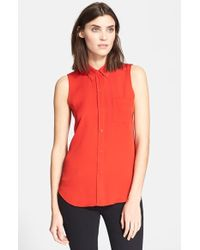 Theory 'Yarnie' Sleeveless Silk Georgette Shirt - Lyst