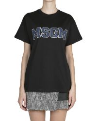 MSGM Cotton T-Shirt with Logo Print - Lyst