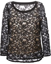 Alberta Ferretti Lace Layered Blouse - Lyst