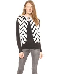Jocelyn Chevron Rabbit Fur Vest  Blackwhite - Lyst