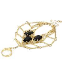 River Island Gold Tone Black Gemstone Slave Bracelet - Lyst