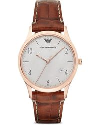 Emporio Armani 3-Hand Croc-Embossed Leather Strap Watch, 41Mm - Lyst