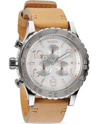 Nixon The 4220 Chrono Leather Strap Watch 48mm - Lyst