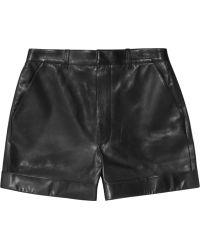 Saint Laurent Black Leather Shorts - Lyst