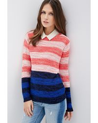 Forever 21 Colorblock-Striped Sweater - Lyst