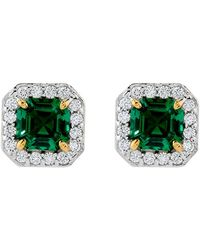 Carat* - 1ct Emerald Border Asscher Stud Earrings - Lyst