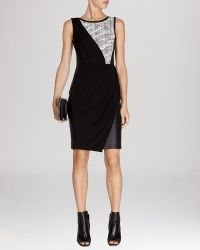Karen Millen Dress - Textured Jersey  Faux Leather Collection - Lyst