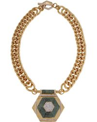 Rachel Zoe Naodelite And 12K Gold Plated Geometric Pendant Necklace gold - Lyst