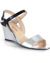 Prada Metallic Patent Leather Slingback Wedge Sandals - Lyst