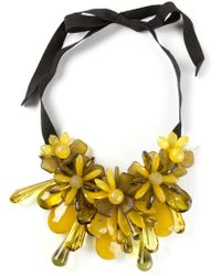 P.a.r.o.s.h. Flower Cluster Drop Ribbon Necklace - Lyst