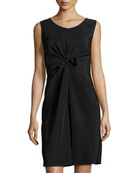 Philosophy di Alberta Ferretti Knotted-Front Sleeveless Dress black - Lyst