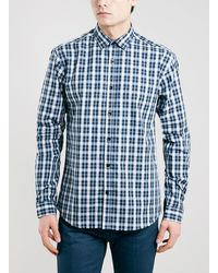 Topman Selected Homme Blue Check Shirt - Lyst