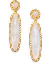 Mija - Moonstone & White Sapphire Long Oval Drop Earrings - Lyst