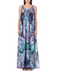 Camilla Abstract Print Drawstring Maxi Dress Rise and Unveil - Lyst