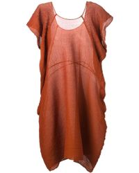 Issey Miyake Pleated Loose Fit Dress - Lyst