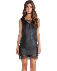 Joa Black Leather Dress - Lyst