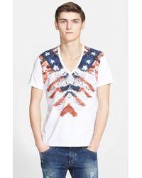 Just Cavalli Flag Print V-Neck T-Shirt white - Lyst