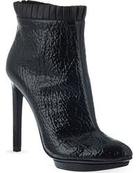 Alexander McQueen Mcq Pleated Trim Heeled Ankle Boots Black - Lyst