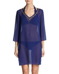 Shoshanna Bead-accented Sheer Tunic - Lyst