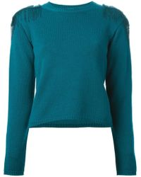 Versace Embellished Knit Sweater - Lyst