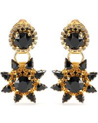 Erdem Gold- Plated Clip On Earrings with Crystal Embellishment - Lyst
