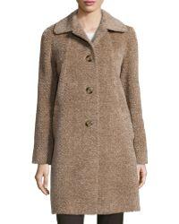 Sofia Cashmere Fuzzy Coat brown - Lyst
