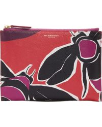 Burberry Prorsum Berry Leather Penelope Pouch - Lyst