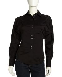 L.a.m.b. Dolman Sleeve Button Down Blouse Black - Lyst