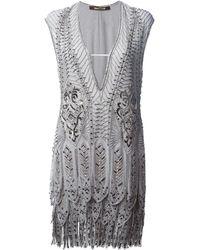 Roberto Cavalli Embroidered Fringed Hem Dress - Lyst