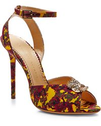 Charlotte Olympia Sophia Printed Crepe De Chine Sandals - Lyst