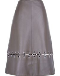 Tibi | Metal Rings On Leather A-line Skirt | Lyst