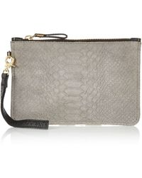 River Island Grey Leather Wristlet Purse gray - Lyst