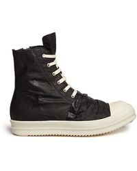 Rick Owens 'Sphinx' Drape Front Nylon High Top Sneakers black - Lyst