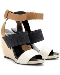 Pierre Hardy Leather and Denim Wedge Sandals - Lyst