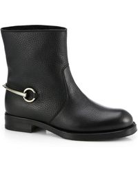 Gucci Leather Shearling Horsebitdetail Short Boots - Lyst