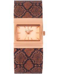 Jessica Simpson - Womens Pink Python Mesh Bracelet Watch 23x28mm Js001c - Lyst