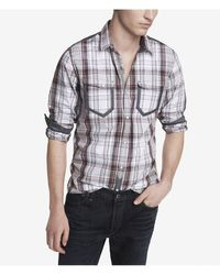 Express Fitted Plaid Shirt - Lyst